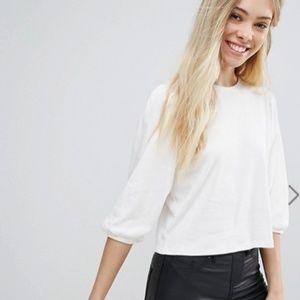New Look Cream Interlock Volume Sleeve Jersey Top